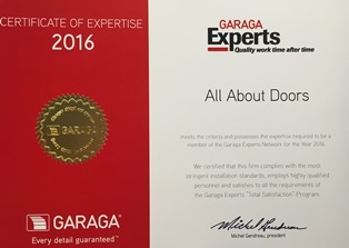 All About Doors Garaga Experts Certificate